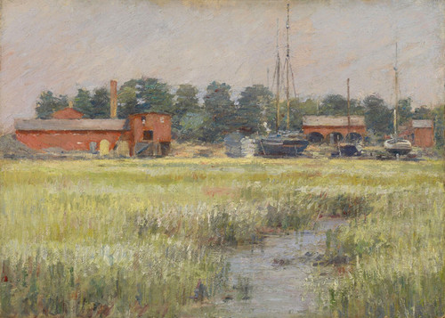 Art Prints of The Ship Yard, Cos Cob by Theodore Robinson