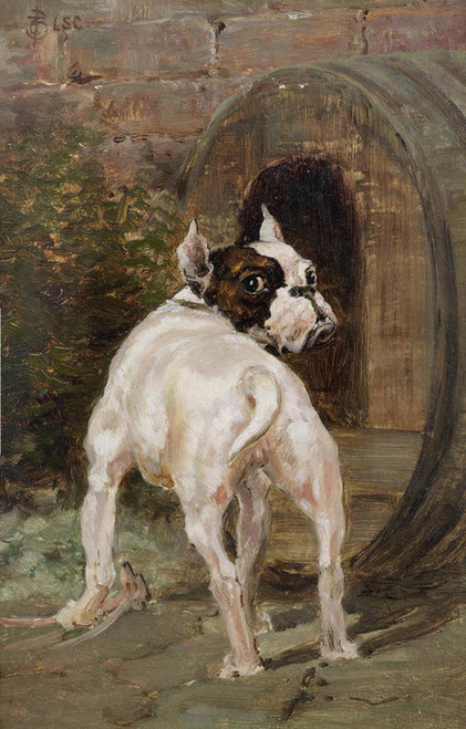 Art Prints of A Bulldog by a Kennel by Thomas Blinks