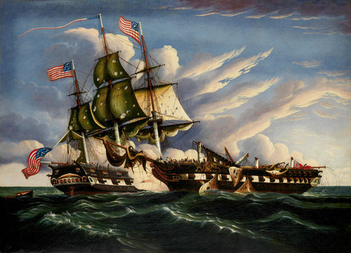 Art Prints of The Constitution and the Guerriere by Thomas Chambers
