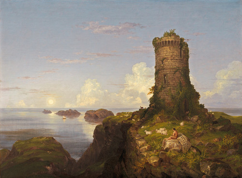 Art Prints of Italian Coast Scene with Ruined Tower by Thomas Cole