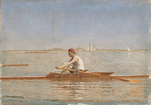 Art Prints of John Biglin in a Single Scull by Thomas Eakins by Thomas Eakins