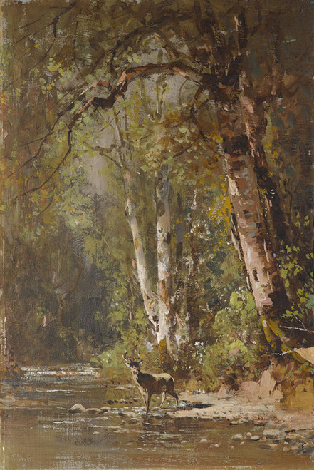 Art Prints of Deer by a Stream by Thomas Hill