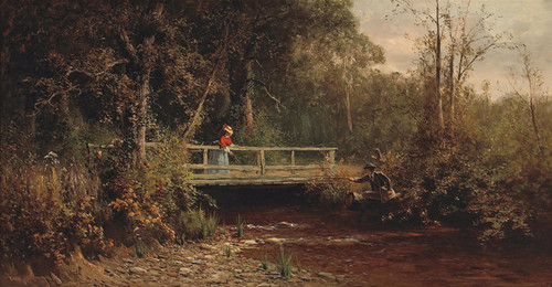 Art Prints of Fishing from the Bridge, Lagunitas Creek by Thomas Hill