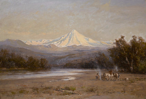 Art Prints of Indians with Mount Shasta in the Distance by Thomas Hill