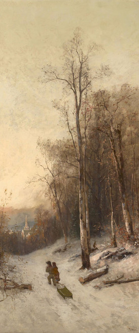 Art Prints of Pulling the Sled, New England by Thomas Hill