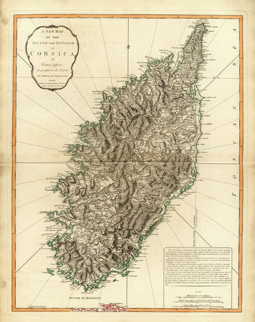 Art Prints of Corsica, 1794 (2310035) by Jefferys, Kitchin, Laurie and Whittle