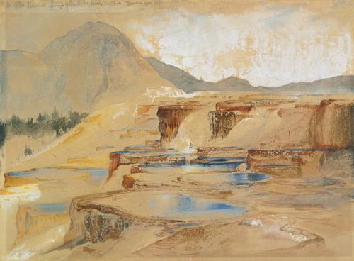 Art Prints of The Great Thermal Springs of Gardiner's River, Montana by Thomas Moran