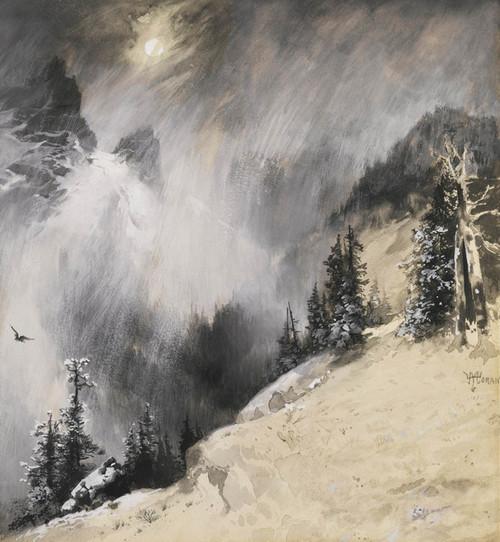 Art Prints of The Falling Flakes Yosemite, a Mountain Snowfall by Thomas Moran