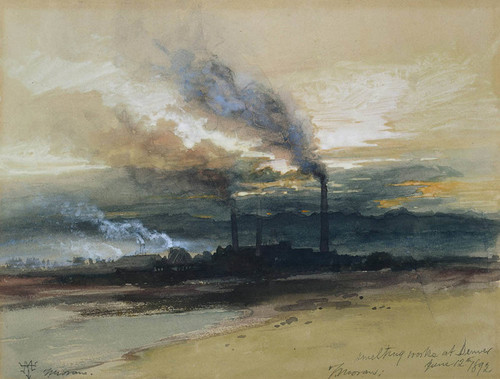 Art Prints of Smelting Works at Denver by Thomas Moran