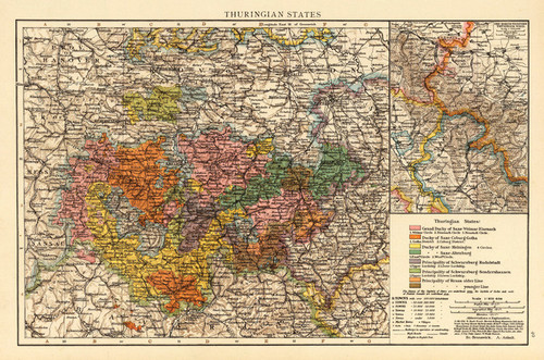 Art Prints of Thuringian States, 1895 (1010025) by Times London and Richard Andree