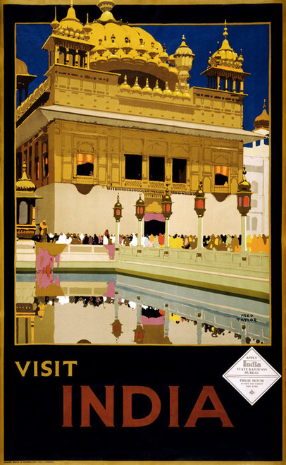 Art Prints of Visit India, 1935, Travel Poster