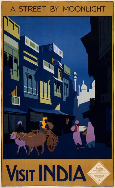 Art Prints of Visit India, a Street by Moonlight, Travel Poster
