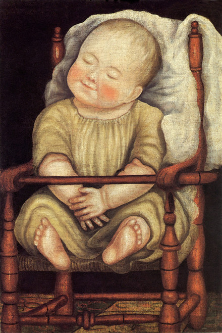 Art Prints of Baby in Red Chair by an Unknown Artist