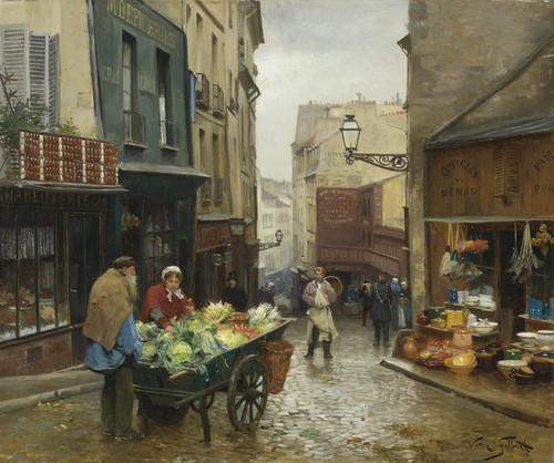 Art Prints of Market on the Rue Mouffetard, Paris by Victor Gabriel Gilbert