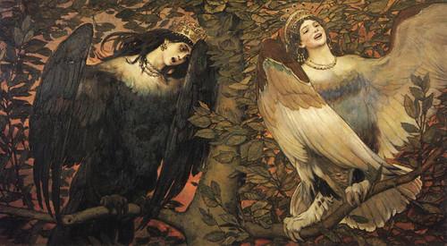 Art Prints of Sirin and Alkonost, Birds of Joy and Sorrow by Viktor Vasnetsov