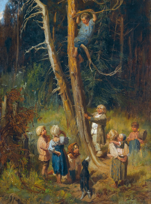 Art Prints of Children Raiding Nests in the Forest by Viktor Vasnetsov