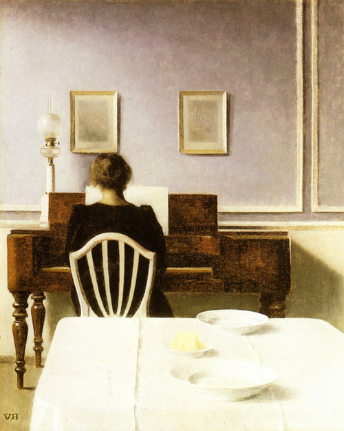 Art Prints of Interior with a Girl at the Clavier by Vilhelm Hammershoi