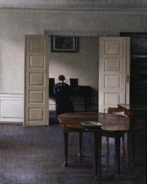 Art Prints of Interior with Ida Playing the Piano by Vilhelm Hammershoi