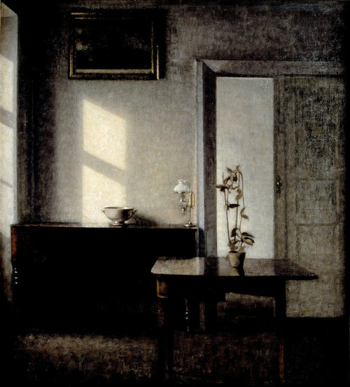 Art Prints of Interior with Potted Plant on Card Table by Vilhelm Hammershoi