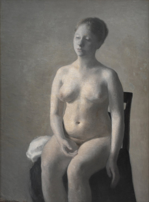 Art Prints of Seated Female Nude by Vilhelm Hammershoi
