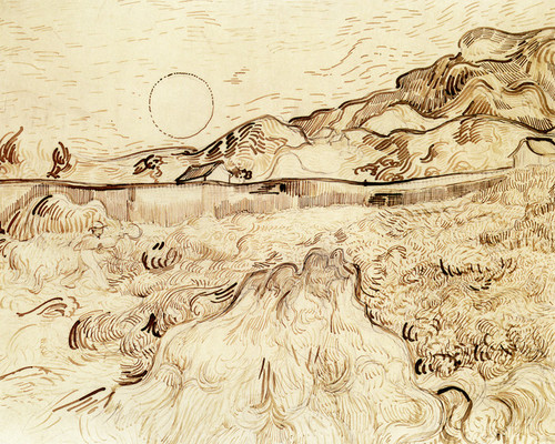 Art Prints of Enclosed Wheatfield with Reaper, 1889 by Vincent Van Gogh