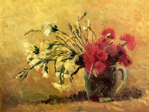 Art Prints of Jug with Red and White Carnations by Vincent Van Gogh