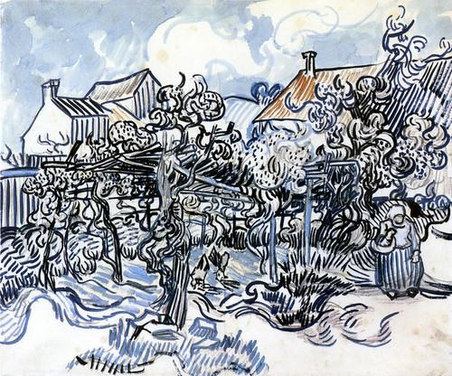 Art Prints of Old Vineyard with Peasant Woman by Vincent Van Gogh