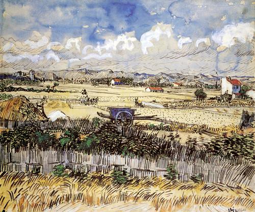 Art Prints of The Harvest, Blue Cart by Vincent Van Gogh