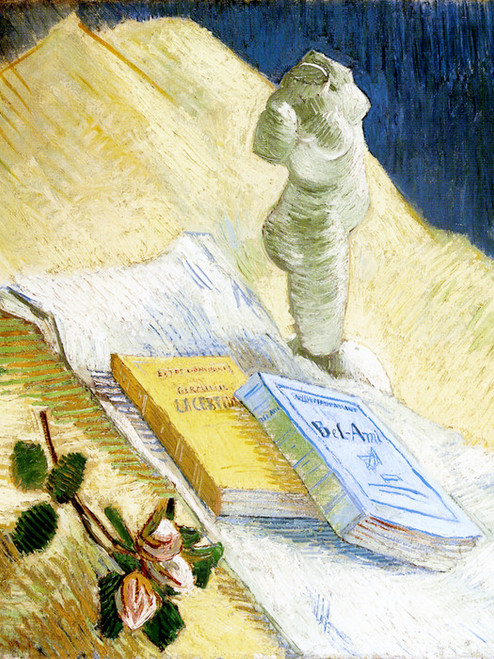 Art Prints of Still Life with Plaster Statuette and Two Novels by Vincent Van Gogh