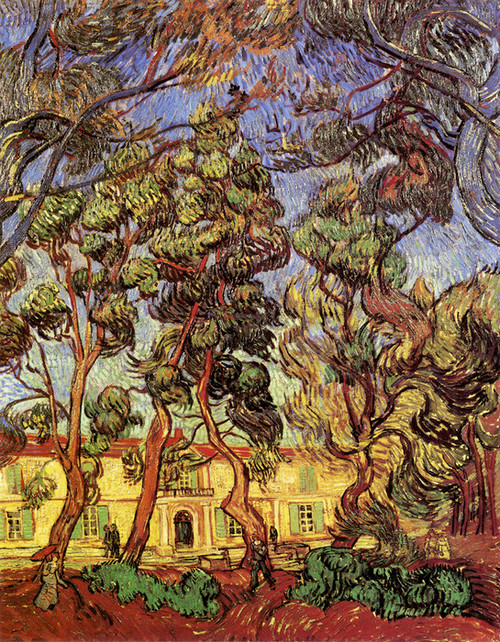Art Prints of Trees in Front of the Entrance to the Asylum, 1889 by Vincent Van Gogh