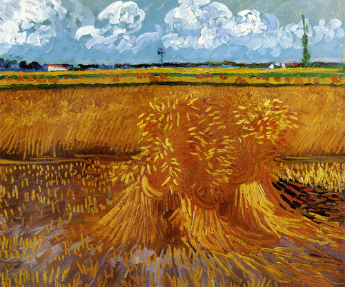 Art Prints of Wheatfield with Sheaves, 1889 by Vincent Van Gogh
