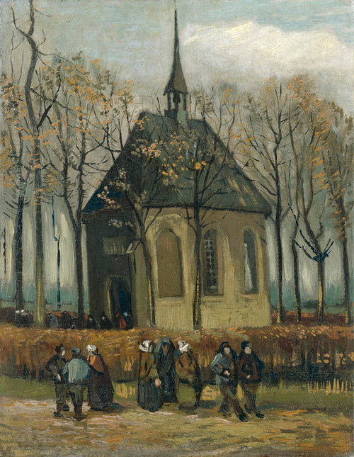Art Prints of Congregation Leaving the Reformed Church in Nuenen by Vincent Van Gogh