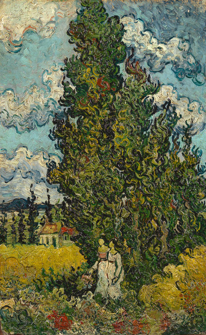 Art Prints of Cypresses and Two Women by Vincent Van Gogh