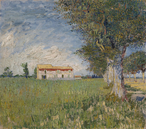 Art Prints of Farmhouse in a Wheatfield by Vincent Van Gogh