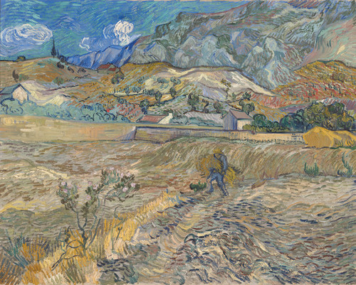 Art Prints of Landscape at Saint Remy with Peasant by Vincent Van Gogh