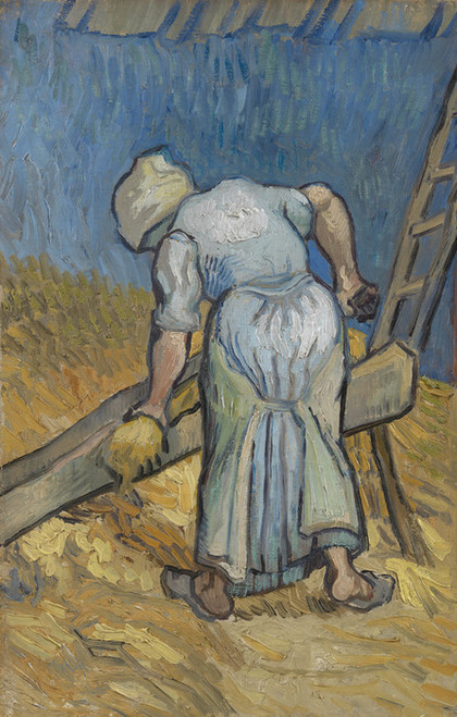 Art Prints of Peasant Woman Bruising Flax (after Millet) by Vincent Van Gogh
