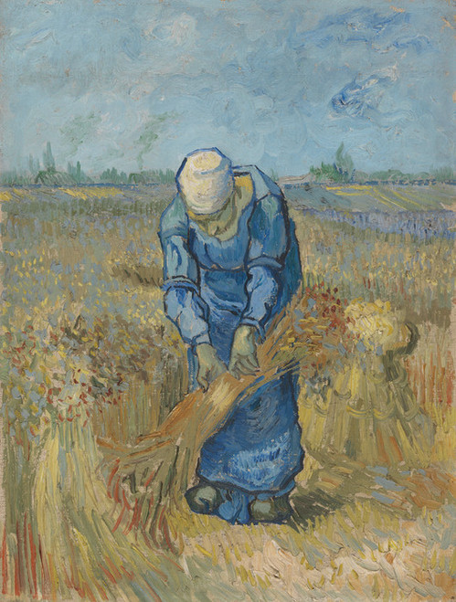 Art Prints of Peasant Woman Binding Sheaves (after Millet) by Vincent Van Gogh