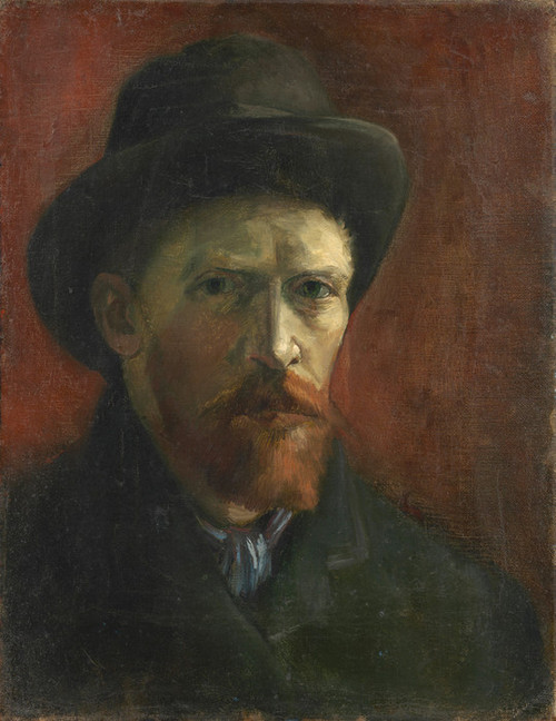 Art Prints of Self Portrait with Felt Hat by Vincent Van Gogh