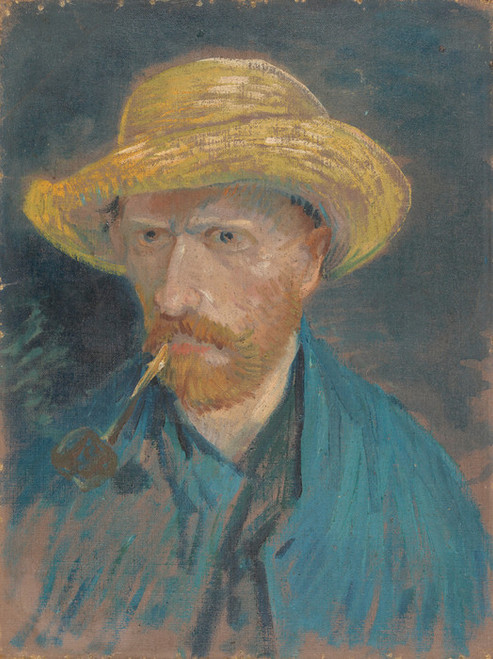 Art Prints of Self Portrait with Pipe and Straw Hat II by Vincent Van Gogh