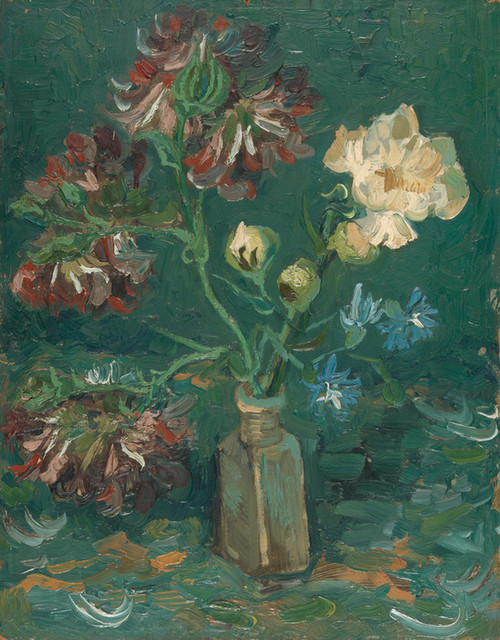 Art Prints of Small Bottle with Peonies and Blue Delphiniums by Vincent Van Gogh