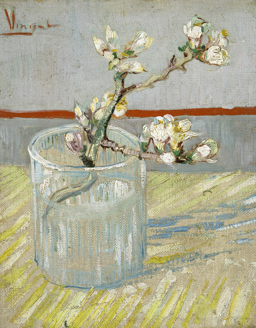 Art Prints of Sprig of Flowering Almond in a Glass by Vincent Van Gogh
