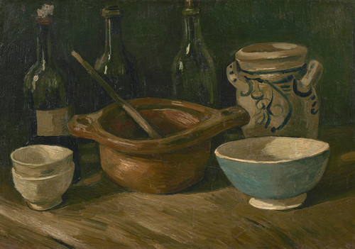 Art Prints of Still Life with Earthenware and Bottles by Vincent Van Gogh