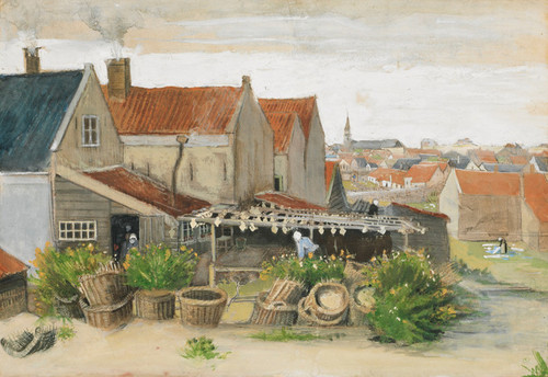Art Prints of The Fish Drying Barn at Scheveningen by Vincent Van Gogh