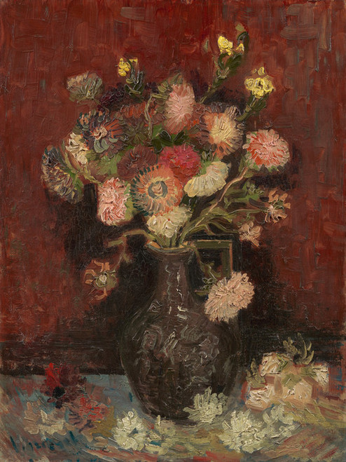 Art Prints of Vase with Chinese Asters and Gladioli by Vincent Van Gogh