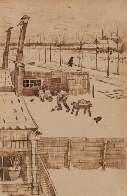 Art Prints of View from the Window of the Studio in Winter I by Vincent Van Gogh