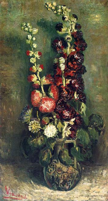 Art Prints of Vase of Hollyhocks, 1886 by Vincent Van Gogh