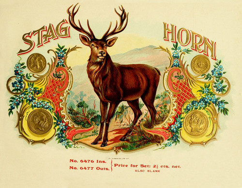 Art Prints of Stag Horn Cigars, Vintage Cigar Label
