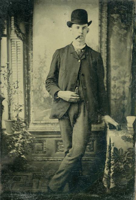 Art Prints of Man with Cigar, Tintype 11, Vintage Tintype
