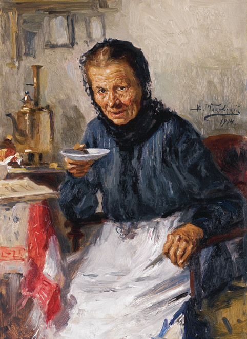 Art Prints of Old Lady Drinking Tea by Vladimir Egorovich Makovsky