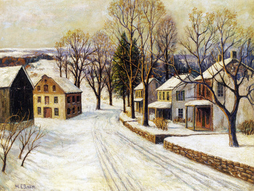 Art Prints of Village Street in Winter by Walter Baum